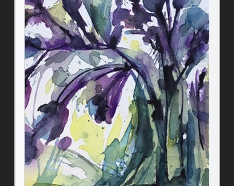 Purple Florals, original watercolor painting by Lara Mitchell