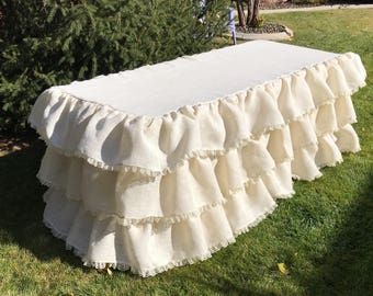 Cream Ruffled Burlap Tablecloth with Lace -3 rows of ruffles with lace- Wedding Tablecloth, Guestbook Tablecloth, Fall Harvest, Party Decor