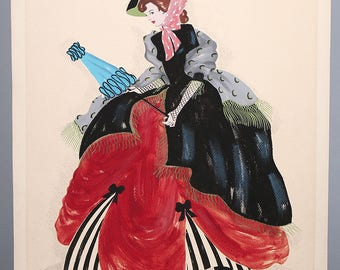 Costume Fashion Illustration Original Artwork Hand signed American Mid Century Gouache