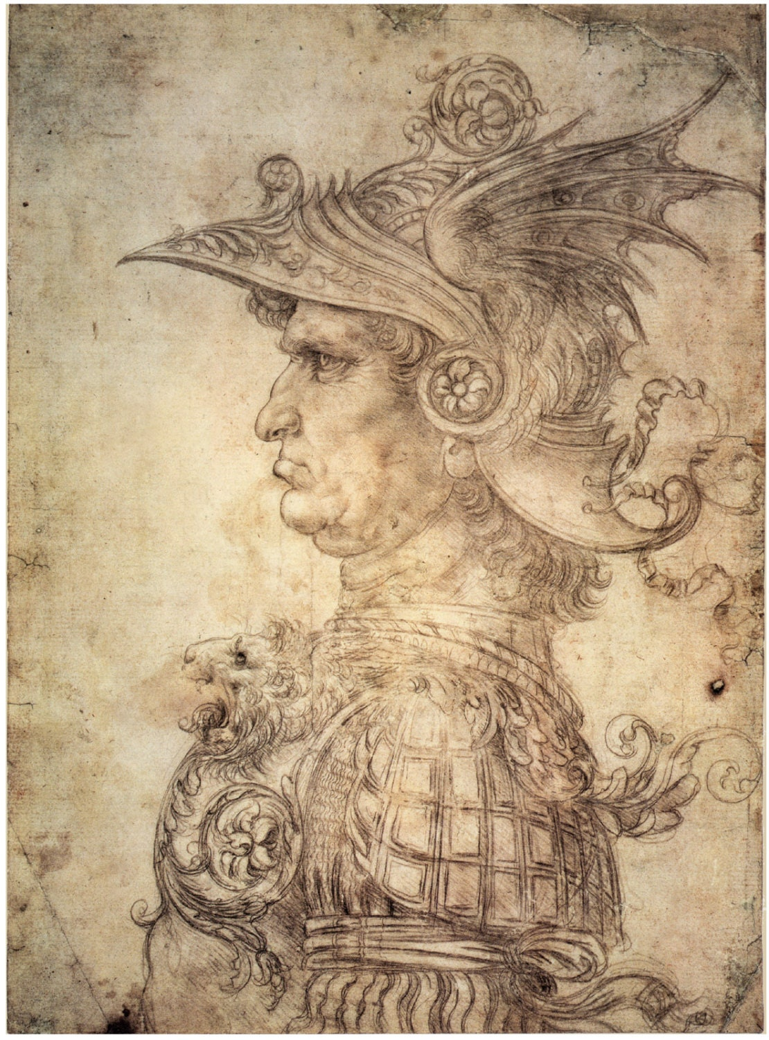 Fine Art Reproduction. Antique Warrior with Helmet in Profile