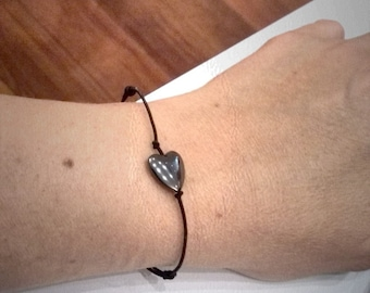 Elastic Bracelet with Hematite Heart