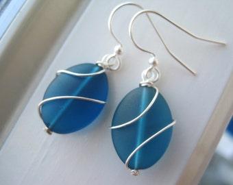 Teal Earrings - Blue Glass Earrings - Cultured Sea Glass Jewelry - Wire Wrapped Earrings - Wire Wrapped Jewelry - Oval -