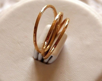 Set of 3 -14k gold filled hammered stackable/stacking rings (wedding bands) size 4, 5,  6, 7, 8, 9, 10, 11 mothers rings jewelry etsy