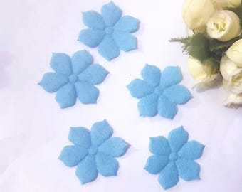 118 pcs Light blue Felt Flower Applique Craft  best for doll decoration 3 cm diameter C37