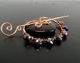 Shawl Pin, Scarf Pin, Crystal beads brooch, Copper Wire Jewelry, Pin for knitters,  Wirework