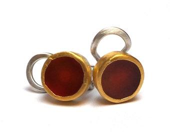 Carnelian Earrings - Gold Earrings - 24 K Gold Stud Earrings - 24 k gold Earrings - Free Shipping!!!