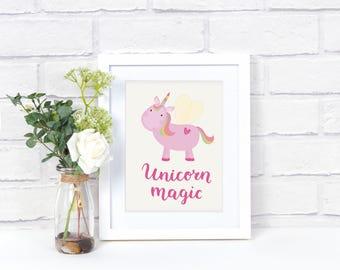 Unicorn Wall Printed Artwork, Unicorn Gift, Unicorn Wall Print, Unicorn Girls Room Décor, Unicorn Nursery, Unicorn Birthday, Unicorn Lover