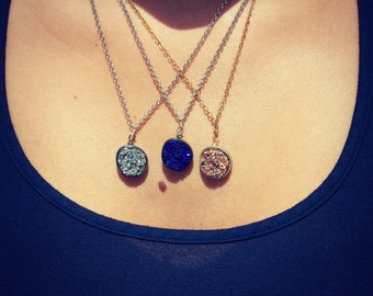 Drusy. druzy quartz necklace in blue, gold, silver or purple