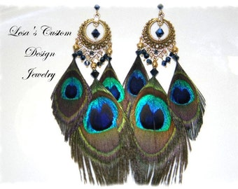 Peacock Feather Chandelier Earrings with Metallic Blue Crystals