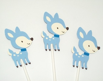 Boy Fawn/Woodland/ Cupcake Toppers/ Boy Birthday/ Baby Shower/ Party