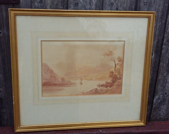 Original Vintage Watercolour 1831 Lake or Loch