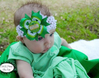 Babys First St Patricks Day - My First St Patricks Day Hair Bow - Green Hair Bow - St Pattys Day - Newborn Hair Bow - Infant Hair Bow