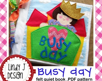 Busy Day Quiet Book/ felt Paper Doll .PDF PATTERN