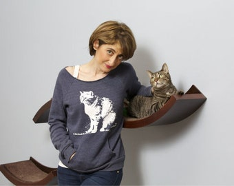 Cat shirt, cat mom, Womens Sweater, cat lover gift, slouchy pullover sweatshirt, Mother's Day gift for her, I Have Cat, crazy cat lady