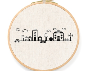 My Cute Neighborhood Cross Stitch Pattern. House Cross Stitch, Modern Simple Cute Counted Cross Stitch PDF Pattern. Instant Download
