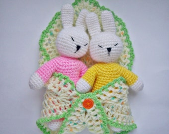 """PDF PATTERN crochet toy amigurumi """"Little sleepy baby rabbits in bag""""/ step by step tutorial/ nursing toys for kids/ bunny/mother's day gift"""