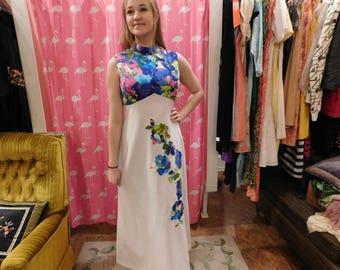 1960 Maxi dress  / Floral dress/ pin up