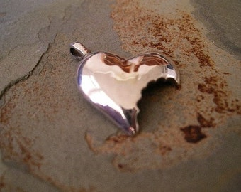 Heart Necklace Pendant in Sterling Silver with Bite out of it RF249