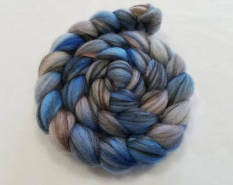 Hand Painted Mixed BFL Natural White and Black 75/25  Roving- 4 Ounces