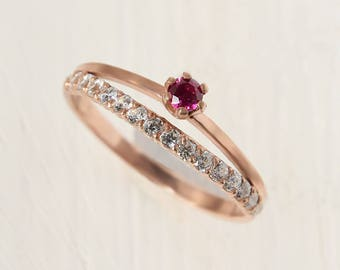 Promise ring, Ruby ring, Ruby jewelry, Rose gold ring, Dainty ring, Fine ring, Gold ring for her, Promise ring for her, Pink stone ring
