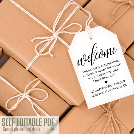 Printable Gift Tags Welcome Tags Template Favor Bag Tags - Gift bag tags template