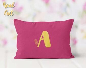 Lumbar pillow, Monogram pillow, Gold foil pillow, Personalized pillow, Birthday gift, Gift of Love for her, Custom pillow, FPLfp004G