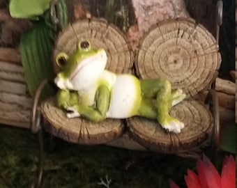 Fairy Garden Miniature FROG  (Resin) for your Fairy Garden, Mini Frog, Fairy Garden Accessory, Terrarium Accessory, Lounging Frog