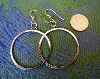 Medium Size Hand Forged Sterling Hoop Dangle Earrings