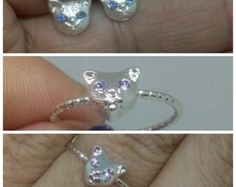 Cat earrings, cat ring silver tiny  cat earrings, cat lover gifts, silver color earrings, women's earrings, cat jewelry, cat fashion jewelry