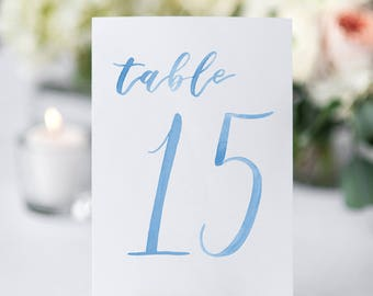 Watercolor Wedding Table Numbers LIGHT BLUE 11-20 // table cards // wedding // table numbers // paper table cards // watercolor card