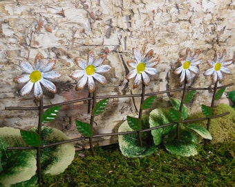 White Daisy Fence Fairy Accessory ~ Metal Flower Fence for Fairies ~ Miniature Garden Landscapes ~ Fairy Garden Supplies & Accessories