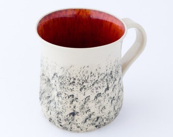 Red handmade mug, Large coffee Mug, handmade tea cup, Cappuccino Cup, Stoneware mug, wheel thrown Cup, Pottery ceramic mug, Birthday gift