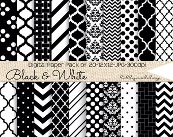Digital Paper Pack of 20 SALE--12x12 JPG Digital Papers in Black and White Patterns Downloadable Papers backgrounds printables