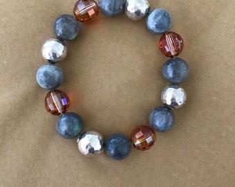 Sterling Silver, Labradorite and Swarovski Bracelet