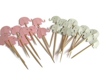 Pink and Grey Elephant Cupcake Toppers, Baby Elephant Toppers, Foodpicks, Baby Birl Shower Cupcake Toppers,  Baby Elephant