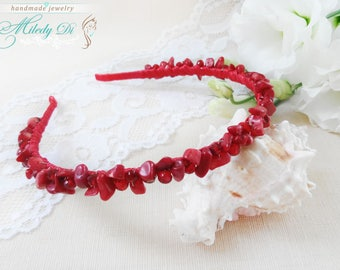Bridal hair piece Red hair jewelry Coral woman headband Bridesmaid gift Hair crown Red bride jewelry Wedding headpiece Coral stone jewelry