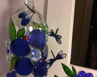 Colbalt Blue LED Lamp with matching Mirror