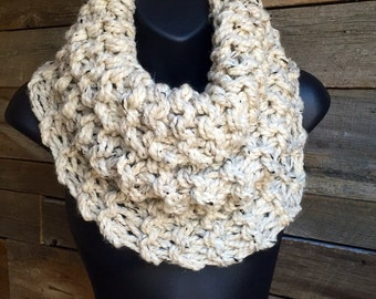 Outlander Inspired Cowl, Chunky Knit Scarf, Womens Winter Infinity Cowl, Sassenach, Wide Scarf, Fall Circle Scarf, Outlander Cowl, Oatmeal