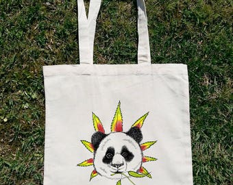 Panda Tote Bag, Weed Tote Bag, Stoner Gift, Ganja Bag, Panda Lover, Panda Gift, Woman Tote Bag, Cotton Tote Bag, Art Tote Bag