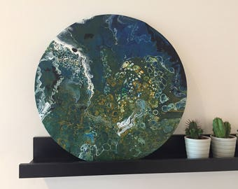 40 cm Round circular Acrylic Pour Painting Teal Blue and Green