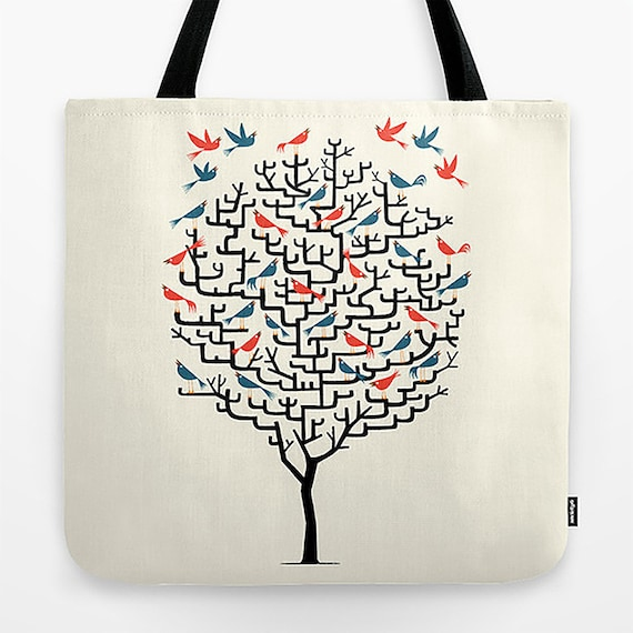 """Out On a Lark - Tote Bag - Book Bag - Record bag - 18"""" x 18"""""""