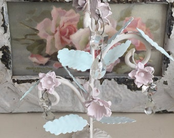 SALE*Shabby Chic Metal Rose Candle Holder