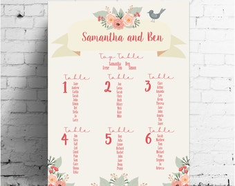 Folksy Watercolour Wedding Table Plan, wedding stationery, wedding stationary, A2, A1