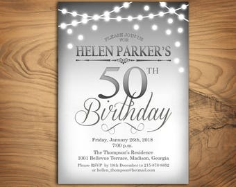 50th Birthday Invitation / Any Age / Silver White / String Fairy Lights / Elegant Digital Printable Invites / Bday Customized / Personalized