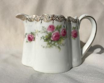 Zeh Scherzer & Co. Porcelain Creamer, Rose Garland, Gilding