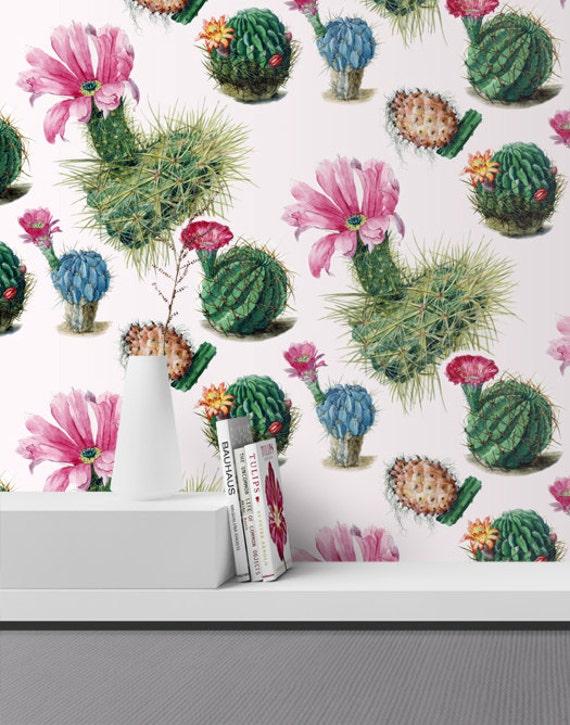 Seamless Selfadhesive Watercolor Cactus Wallpaper Removable