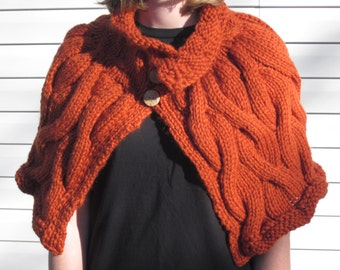 Cable Knit Capelet/Shawl