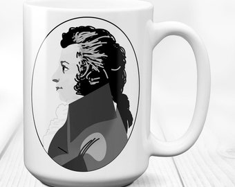 Wolfgang Amadeus Mozart/Composer/coffee mug/classical music/birthday gift/symphony opera/bohemian musician/vintage picture/15 oz.
