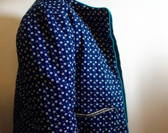 Warm reversible straight jacket in cotton and wool blue Hermione