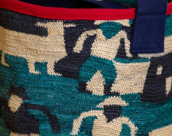 Delightful Indigenous Characters and Scene in This Large Sisal Tote